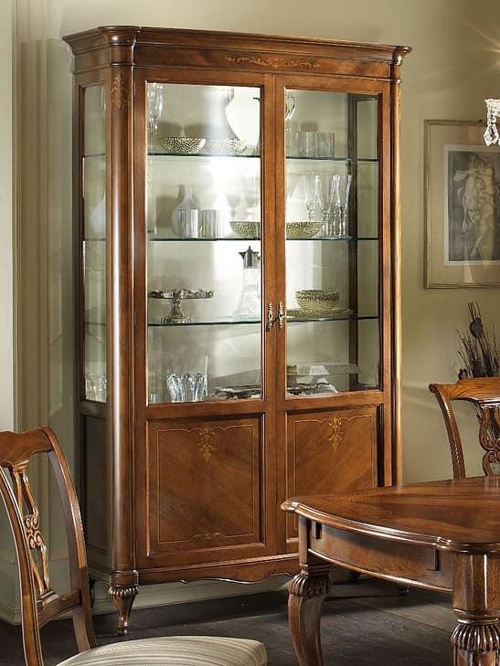 Vetrina classica in noce decori in acero impiallacciata - Mobili vetrinette ...