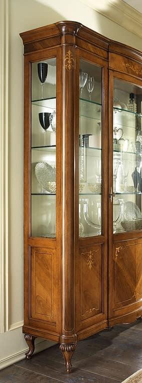 Vetrina classica in noce sfumature a fuoco intarsiata - Mobili vetrinette ...