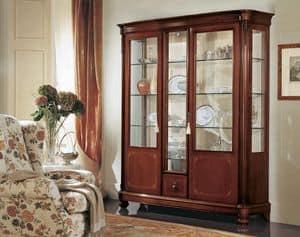 Gardenia vetrina 3 ante, Vetrina a 3 ante, con cristalli curvi, in stile classico