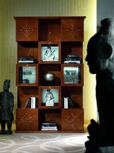 MB42 Mondrian, Vetrina libreria in stile classico, in legno intarsiato