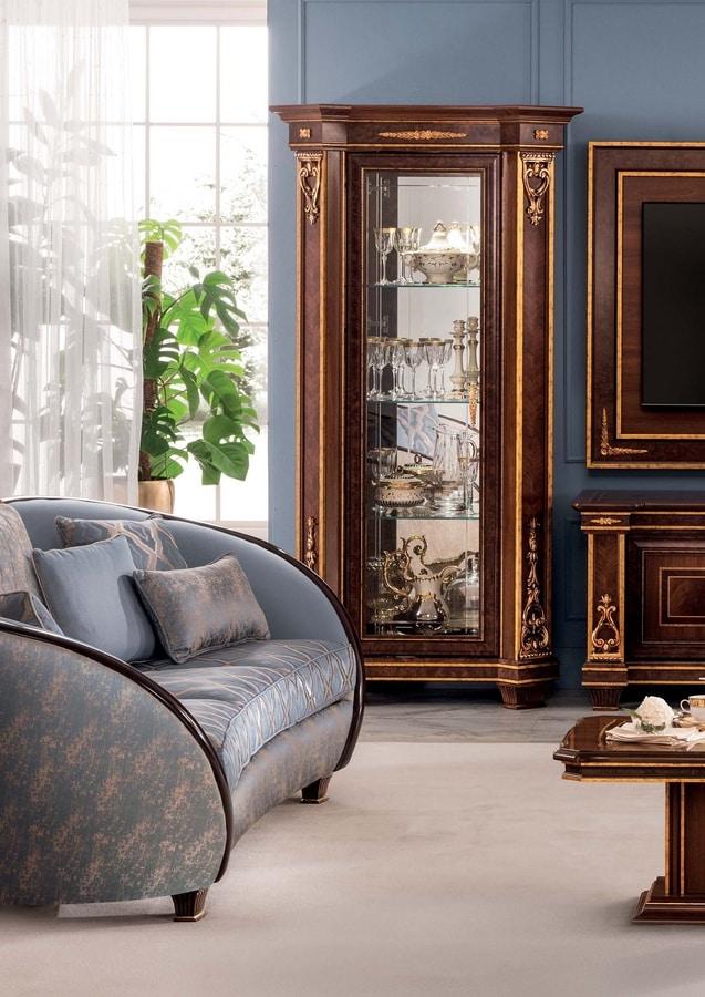 Modigliani vetrina 1 anta, Vetrina con decorazioni artigianali