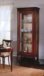 Opera vetrina 2 ante, Vetrina con 2 ante in legno massello, ripiani in vetro