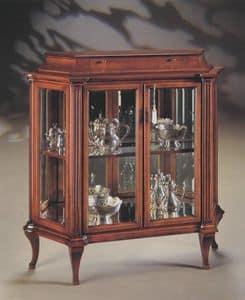 Oxford Art.513 vetrina con cassetto, Vetrina con cristalli molati e schienale a specchio