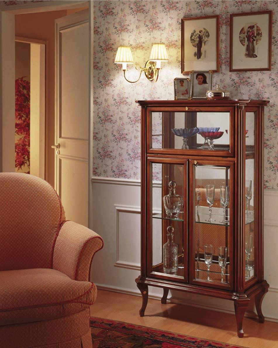Oxford Art.518 ribalta, Vetrina classica con ribalta, con fondo a specchio