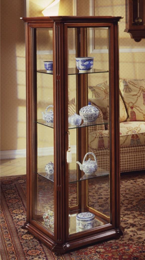Oxford Art.536 vetrina, Vetrina classica con vetro molato e ruote, in noce