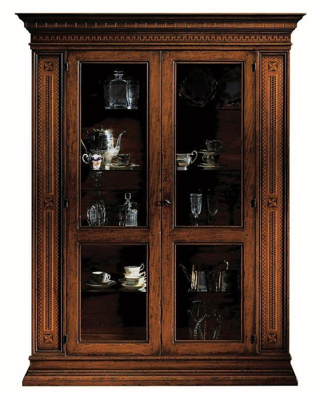 Portoferraio ME.0104.A, Vetrina con 2 porte, ripiani in cristallo, in stile classico