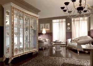 Raffaello vetrina 3 ante, Vetrina in stile classico, con elegante disegno decorato con serigrafie in polveri dorate, per la sala da pranzo lussuosa