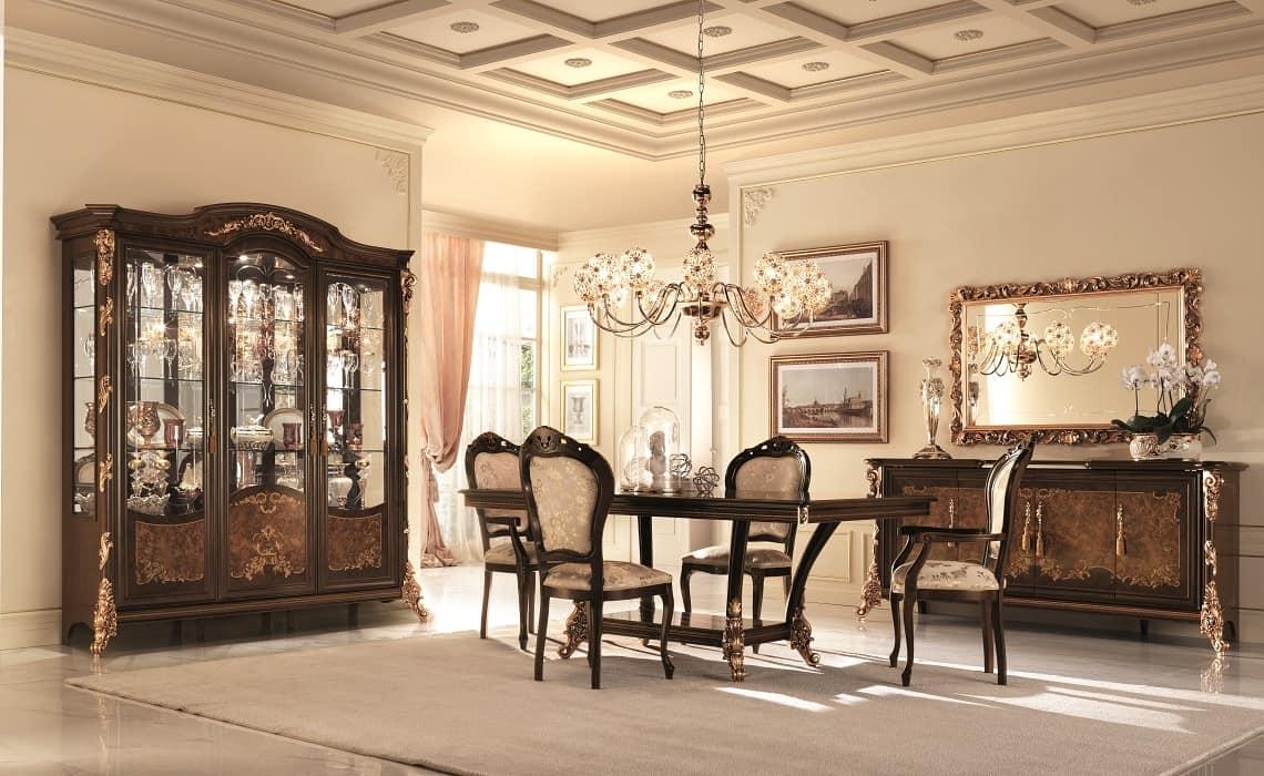 Credenza Con Vetri Molati : Vetrina con vetri molati decorazioni in foglia d oro idfdesign