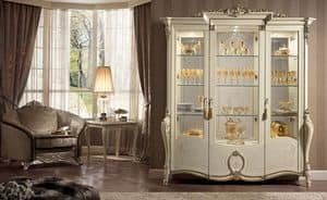 Tiziano vetrina, Vetrina in stile, disponibile con 1, 2 o 3 porte, per sale da pranzo classiche