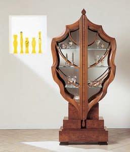 V498 La foglia vetrina, Vetrina a forma di foglia, in legno massiccio, due ante
