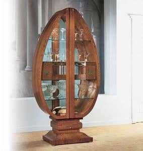 V548 Millennium vetrina, Vetrina illuminata a forma d'uovo, in stile classico