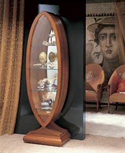 VE23 Goccia, Vetrina in legno massiccio curvato, in stile classico