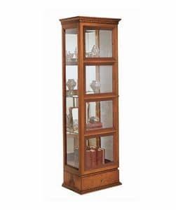 VE25 Quadrotti, Vetrina classica in legno, con illuminazione interna