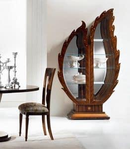 VE37 Pois, Vetrina in legno, fondale a specchio, vetrina illuminata
