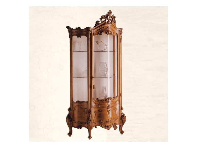 Vetrina art. 05, Vetrina in legno massello con vetro ricurvo, stile barocco