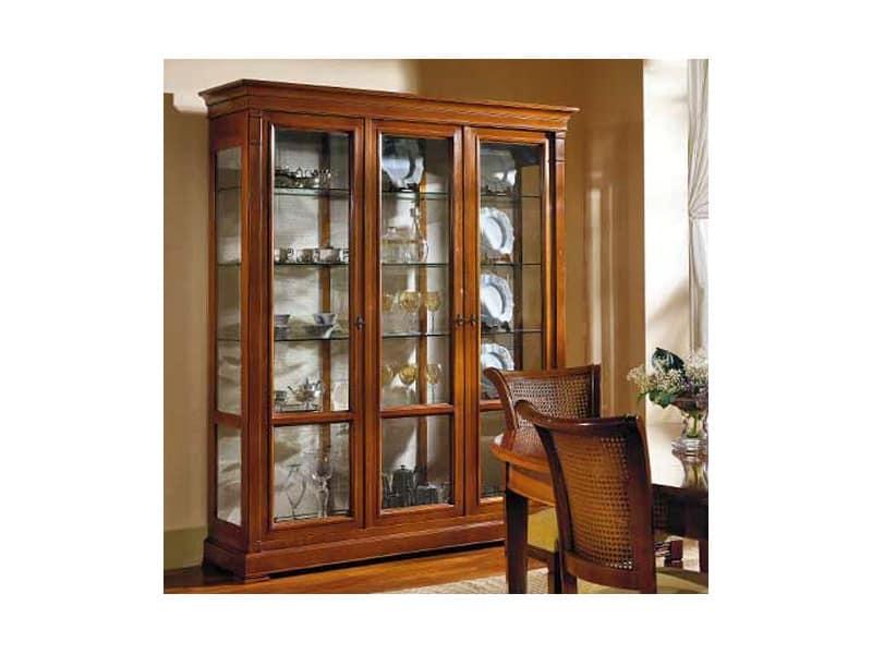 Vetrina con 3 ante e ripiani in cristallo stile classico - Mobili vetrinette ...