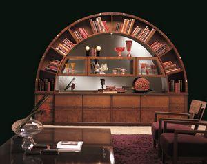 VL13 Arco vetrina, Libreria vetrina classica intarsiata, ad arco