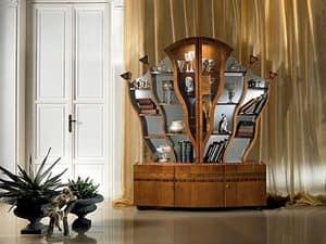 VL16, Libreria intarsiata in stile classico, a forma d'albero