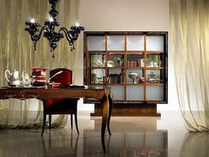 VL19 Quadro, Vetrina libreria con ante scorrevoli, in legno intarsiato