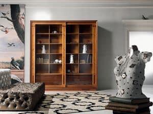 VL25 Le cornici, Vetrina libreria, con intarsio, ante scorrevoli per Salotto