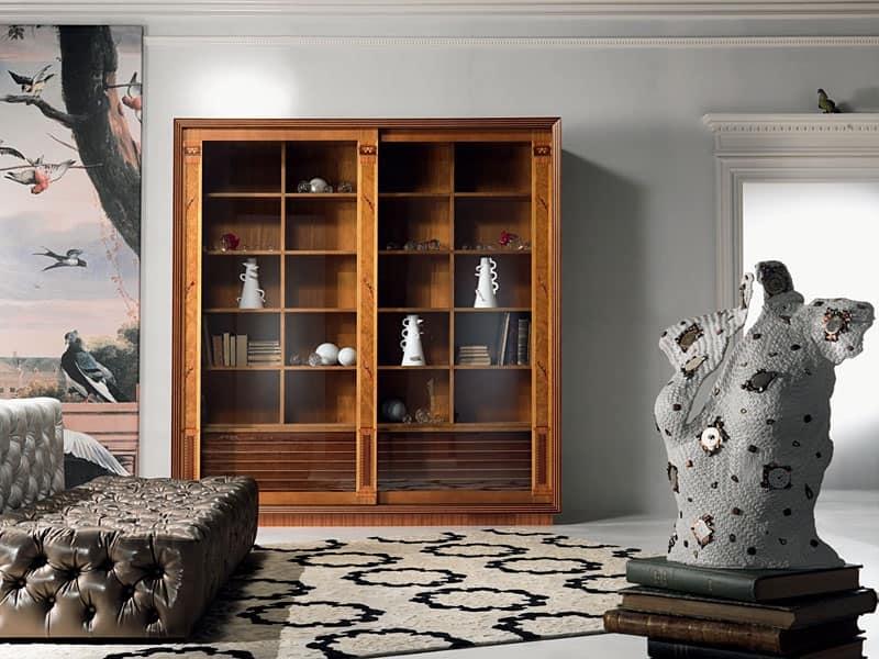 Vetrina libreria, con intarsio, ante scorrevoli per Salotto | IDFdesign