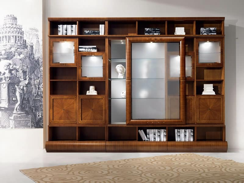 Libreria vetrina componibile in noce ante scorrevoli idfdesign for Living room display cabinets designs