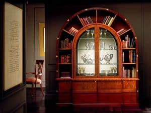 VL671 Arco due, Libreria ad arco, in palissandro intarsiato, illuminazione interna