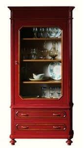 Adeline BR.0055, Vetrina laccata con 1 porta, stile classico