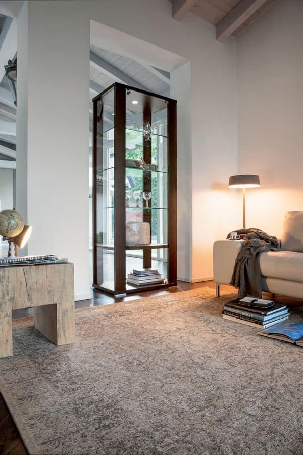 Vetrina con ripiani in vetro per salotto  IDFdesign