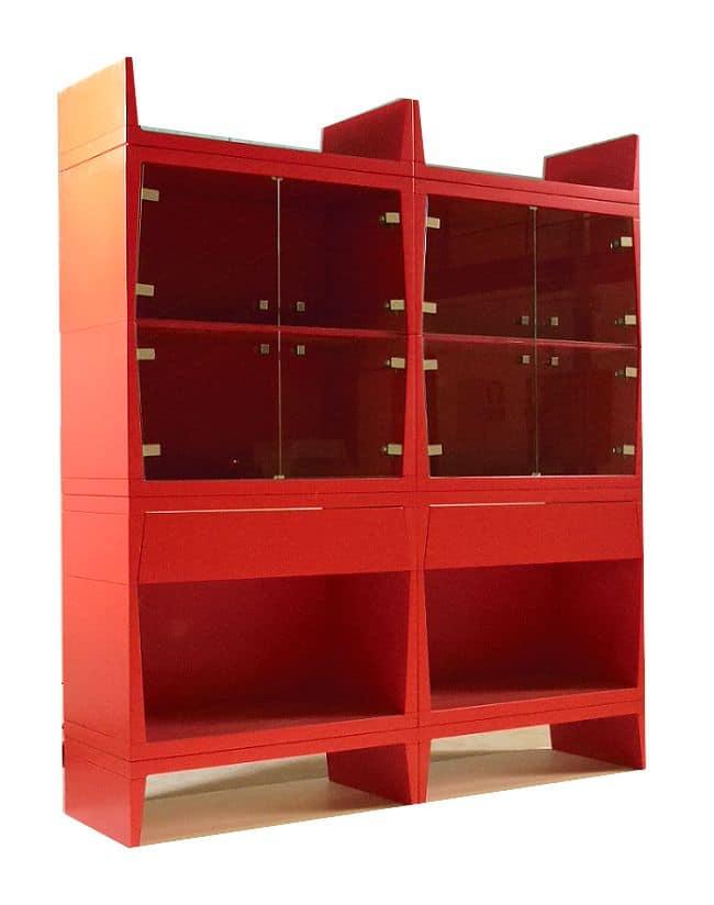 Vetrinette moderne color rosso per sala da pranzo  IDFdesign