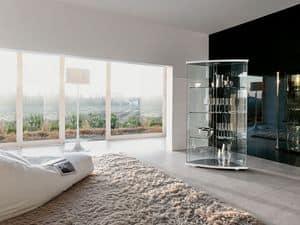 GRAC�A, Mobile espositore in vetro curvato, per salotti moderni