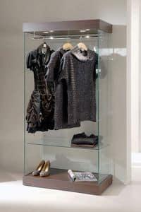 Laminato 131/CA, Vetrina moderna in vetro, base in legno, faretti, per negozio abbigliamento