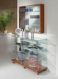Laminato Light 12/90, Banco vetrina, base in laminato con ruote, ripiani in vetro