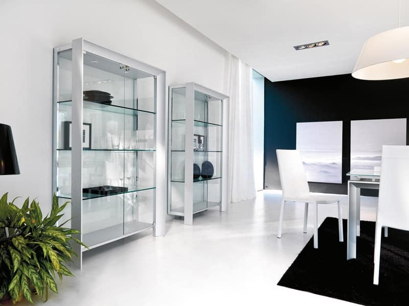 vetrina moderna in legno metallo e vetro per sala da. Black Bedroom Furniture Sets. Home Design Ideas