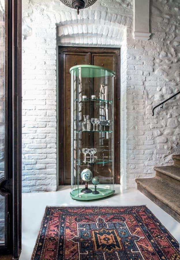 OLIVELLA, Vetrina con base in legno, ripiani in vetro, per museo