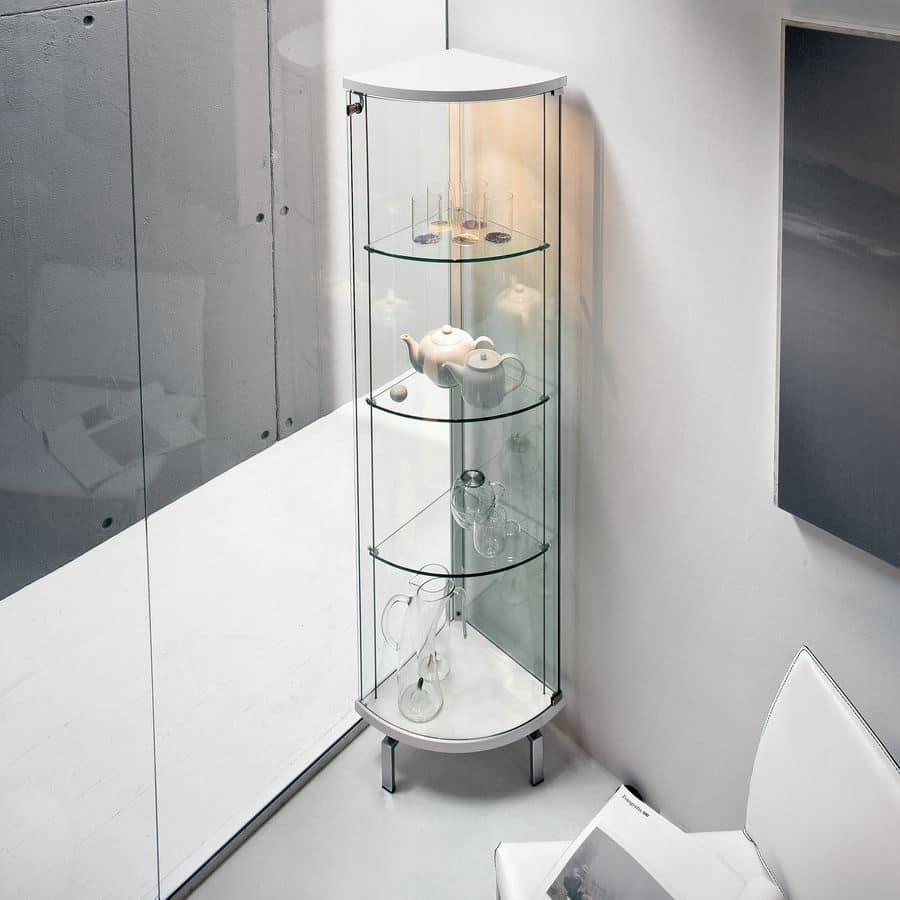Vetrinetta in vetro curvato, top e base in legno opaco | IDFdesign