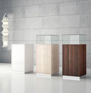 Quadratum Q/50 - Q/50A, Bacheca in vetro con vano contenitore, espositore, per gioielleria