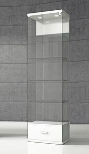 Quadratum VE/60C, Vetrina espositiva con base con cassetto