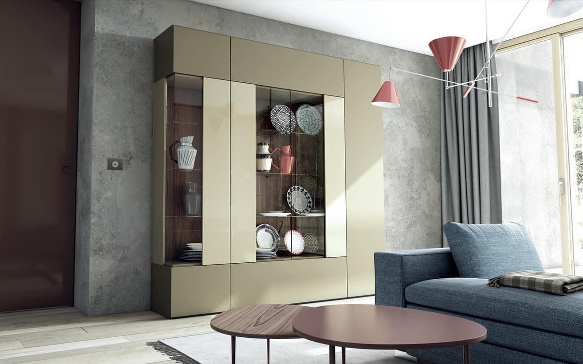 Vetrina con vetro ad angolo per cucine e salotti moderni for Cucine e salotti insieme