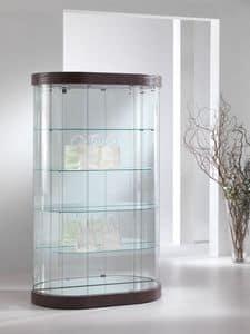 Top Line 9 mod.209, Vetrina ovale, in cristallo temperato, 4 ripiani, per negozi e salotti