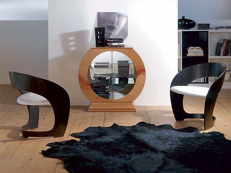 Vetrina a forma di cerchio con specchio struttura in ciliegio