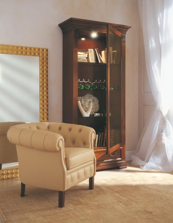 Villa Borghese vetrinetta 7372, Vetrina ad una anta, con ripiani regolabili in cristallo
