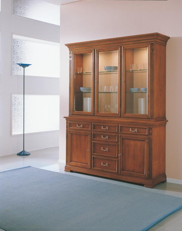 Villa Borghese vetrinetta 7375, Ampia vetrina a tre ante, in legno e cristallo