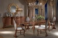 TA51 Vanity tavolo, Tavolo da pranzo anticato, ovale, allungabile, foglia oro