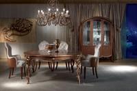 TA52 Vanity tavolo, Tavolo classico in legno intagliato, tinto noce, foglia oro