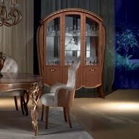 VE38 Vanity vetrina, Vetrina in �rable tinto noce, intarsi floreali