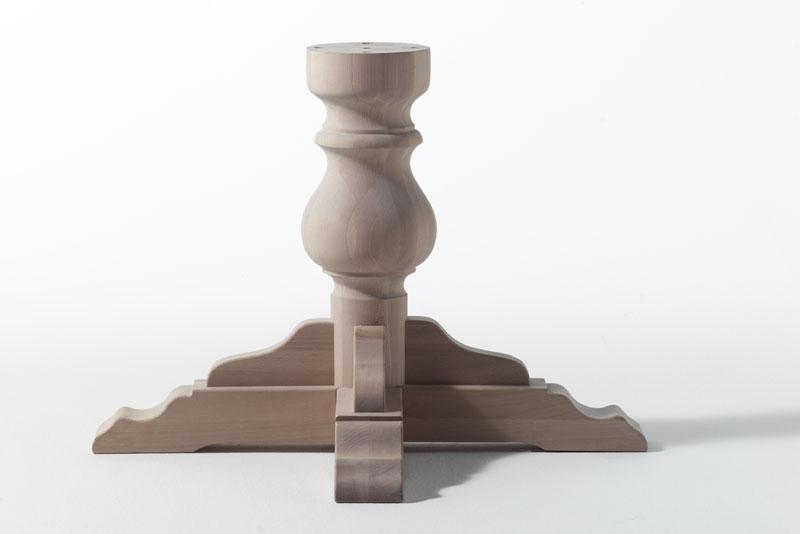 BASE, Base a colonna per tavolo in legno