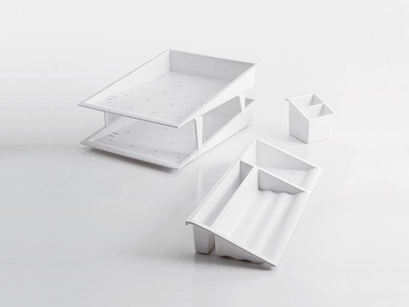 Desk up bianco, Accessori per scrivania in tecnopolimero