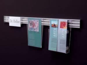 Desk up portamessaggi, Espositore in metacrilato trasparente su barre in alluminio