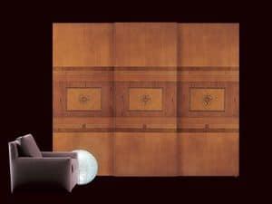AR09 Floreale armadio, Armadio classico con ante scorrevoli, illuminazione interna